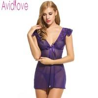 Avidlove Brand Sexy Nightdress Women Babydoll Dress V Neck Transparent Lingerie Sexy Nightwear G String Sleepwear