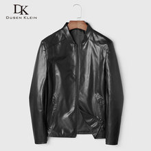 Men Genuine Leather Jacket Real Sheepskin Jackets Casual Short Black Stand Collar Pockets 2019 Autumn New Jacket for Man 19C332 цена 2017