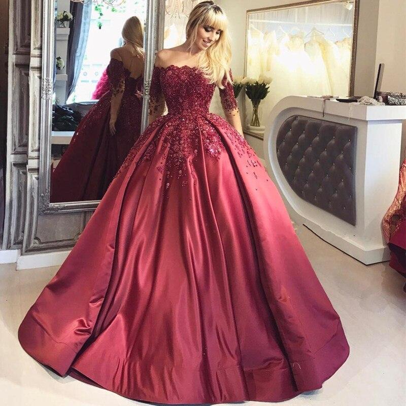 Burgundy   Evening     Dress   Long 2018 Boat Neck Off Shoulder Appliques Lace Beads Ball Gown Prom   Dress   Elegant Robe De Soiree