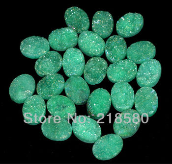 H-DCB34 25pcs Green Quartz Drusy Druzy Cabochon Beads Oval Shape Beads 10mmx14mm