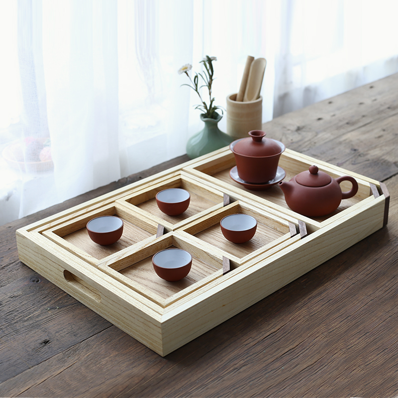 Ash Solid wood tea tray Japanese style Seven piece set large saucer fruit dish tea tray