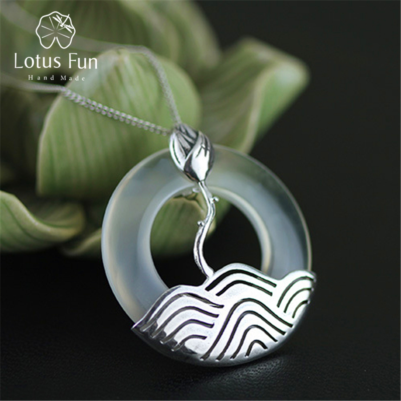 Lotus Fun Real 925 Sterling Silver Natural Chalcedony Handmade Fine Jewelry Vintage Round Pendant without Necklace
