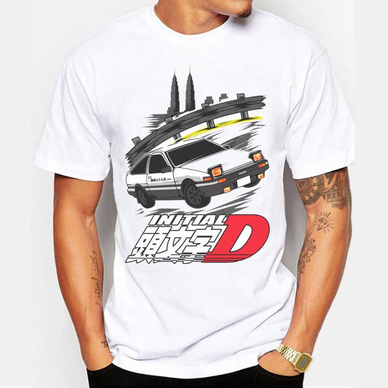 2017 New Fashion Summer Initial D Printed T Shirt Male Cool Car T