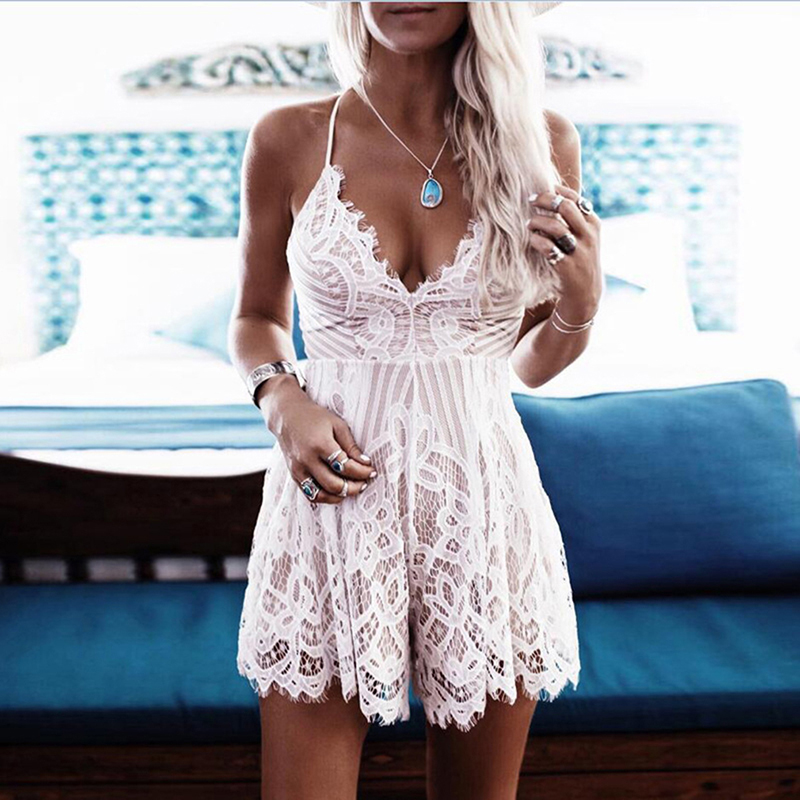 Sexy Lace Women Playsuits Deep V Neck White Elegant Summer Strap Backless Lace Rompers Short Overalls Women One Piece