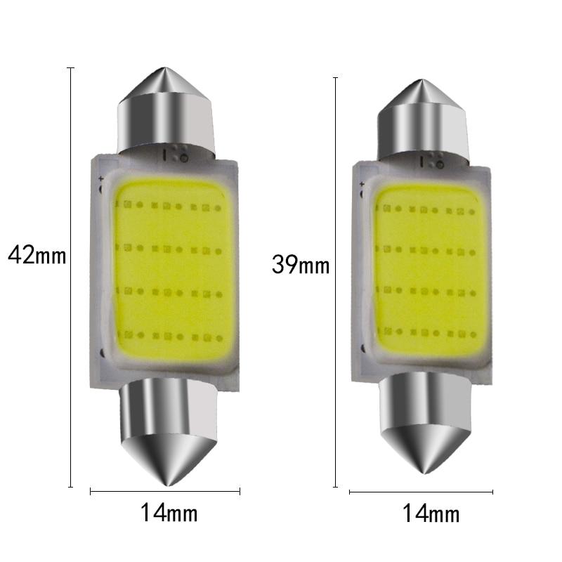 1pcs 31mm/36mm/39mm /42mm12V Festoon LED Reading lights Car Bulb Parking CANBUS C5W COB LED SIZE Interior White SMD Bulb
