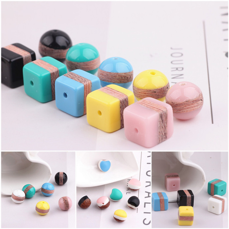 Free Shipping 30PCs/Lot Wood Resin Stripes Beads Colorful 3D Cube Square Round Double Faces Jewelry Bracelet Necklace Beads colorful stripes wood grain flannel area rug