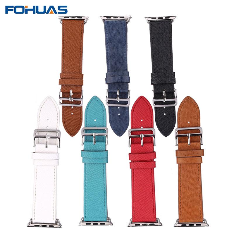 Prix pour FOHUAS Croix Grain Cuir Véritable bracelet Unique Tournée pour Apple Watch Bracelet Bande Bracelet 7 Couleurs pour 38/42mm