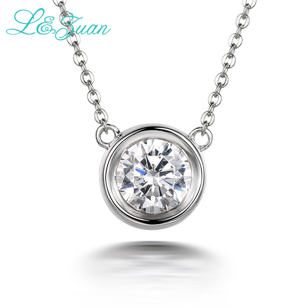 Izuan 925 sterling silver 14ct diamond pendant necklace for women izuan 925 sterling silver 14ct diamond pendant necklace for women simple small round stone necklaces fine jewelry lovers gift in pendants from jewelry aloadofball Images