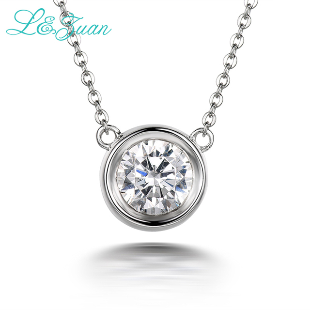 b1a24149793f81 I&Zuan 925 Sterling Silver 1.4ct Diamond Pendant Necklace For Women Simple  Small Round Stone Necklaces