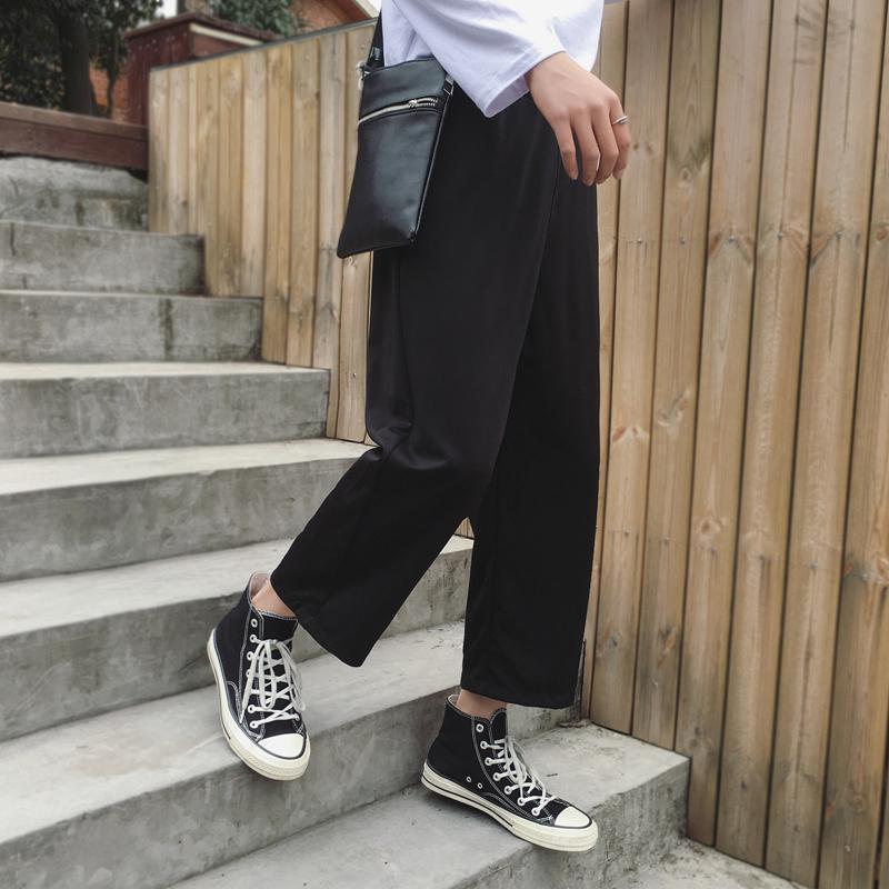 Japanese Style Loose Wide Leg Mens Spring New Korean Stripe Casual Pants In Men's Wide Leg Pants Black 5XL