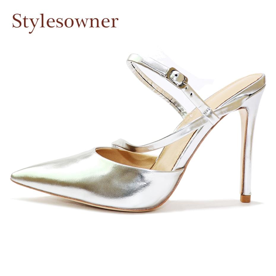 Здесь продается  Stylesowner silver genuine leather 10cm heel women pumps sexy pointed toe stiletto heel party shoes narrow band buckle sandals   Обувь