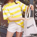 2017 new brand spring summer fashion new loose white sexy Leisure striped short O-Neck tee T-shirt  Girl tee cotton top code