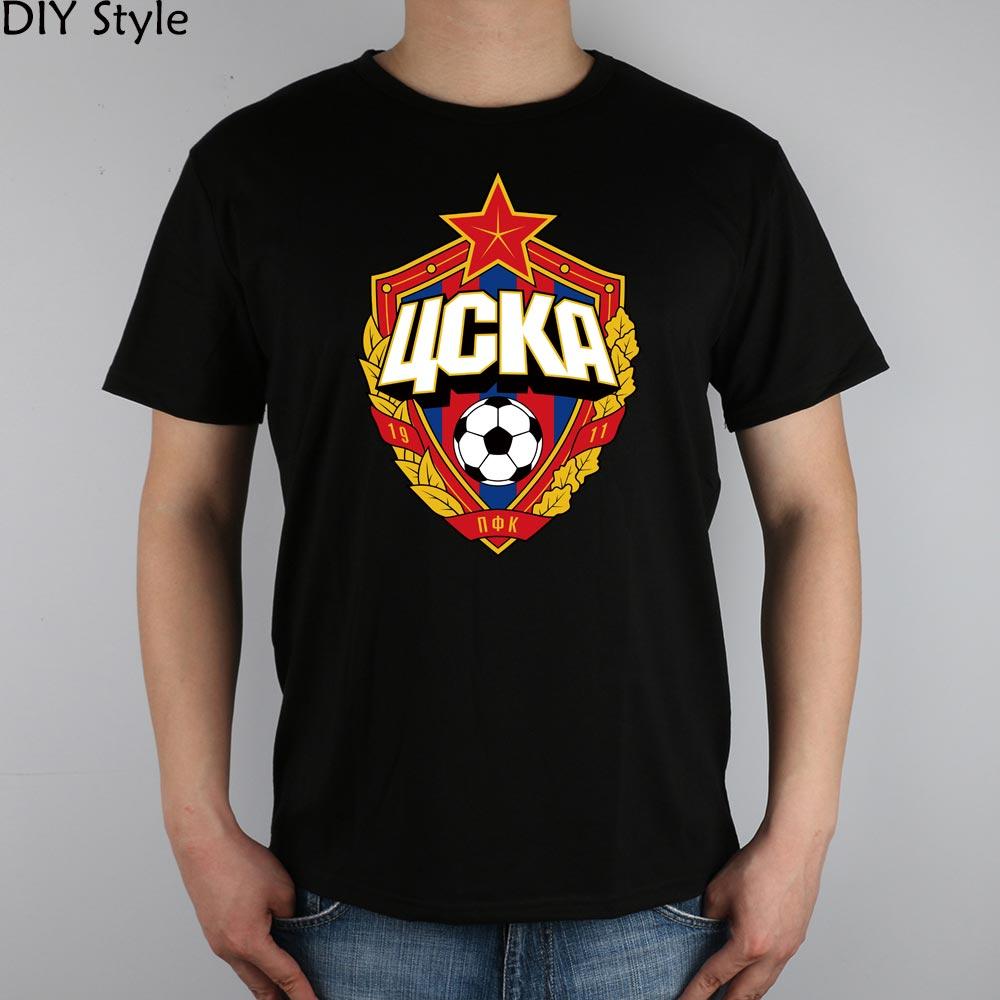 The central cska Moscow Russia LOGO font b T shirt b font Top Lycra Cotton Men