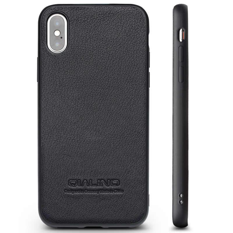QIALINO housse de téléphone mince en cuir véritable pour iPhone X/10 luxe Ultra mince Simple universel support pour voiture sac coque arrière pour iPhone onex