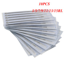 Qink 10pcs Assorted Sterilized Tattoo Needles 3/5/7/9/11/13RL Round Liner #0.35mm Wholesale Supply for Machine