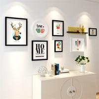 Fashion Mordern Photo Frame Set Wedding Decor Love 7pcs Picture Frames+Shelf Wall Home Family Art Pictures Holder Cadre Photo