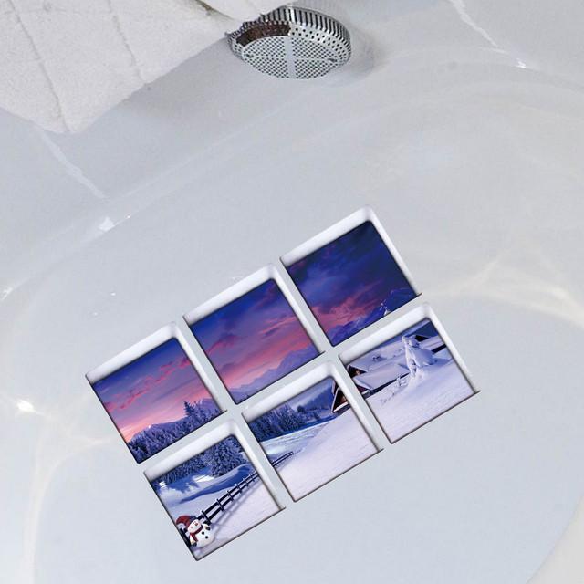 New Funny 6pcs 3D bathtub stickers Water Shadow Pattern 3D Anti Slip Waterproof Bathtub Sticker Tub Bathroom Decal PVC Mural