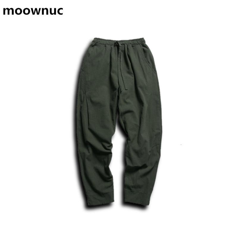 Men Pants Linen Drawstring Flax Pants Straight Ankle-length Pants solid Linen Cotton Home Men's Trousers Fashion Pants Linen