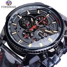 Forsining noir automatique course de vitesse hommes sport montre 3 cadrans Date jour brillant bracelet en cuir poli mécanique Relojes Hombre