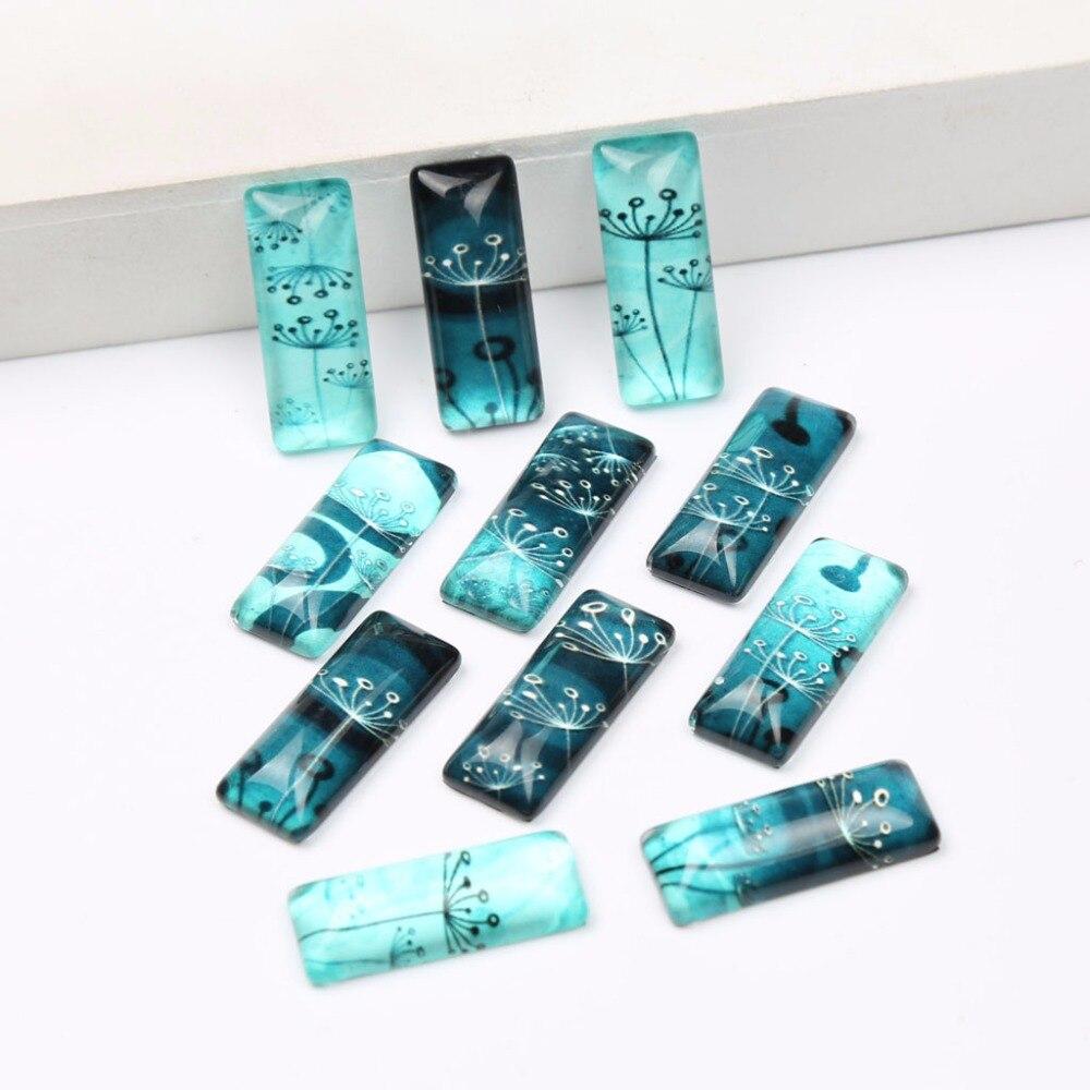 onwear 20pcs Mix Dandelion Photo Rectangle Glass Cabochon 10x25mm diy flatback dome jewelry cameo for bracelets necklace making(China)
