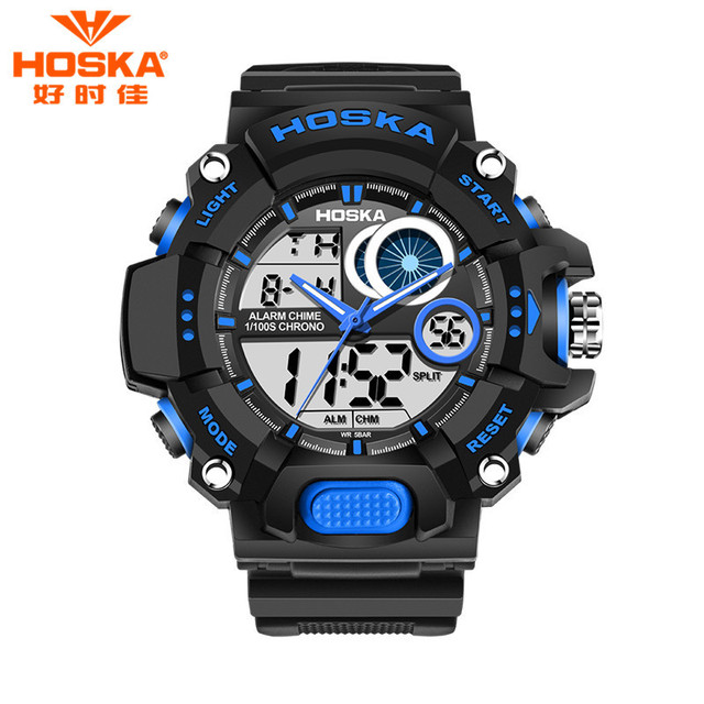 HOSKA Fashion Waterproof Outdoor Sports Men Watch New Multifunction Chronograph Noctilucence Boy Digital Watches