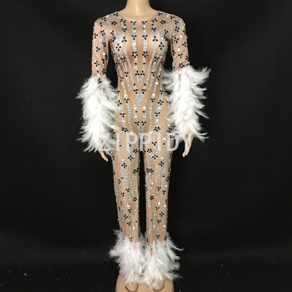 Grand Salopette Spandex Soirée Strass Porter Nude Plume Blanc D'anniversaire Outfit Party Clignotant Body Danseur Chanteur Leggings Stage xIPwBt
