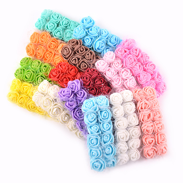 12Pcs/Lot Mini Lace Foam Rose Artificial Flower for Wedding Home Decoration DIY Craft Wreath Gift Decor Fake Flower Scrapbooking