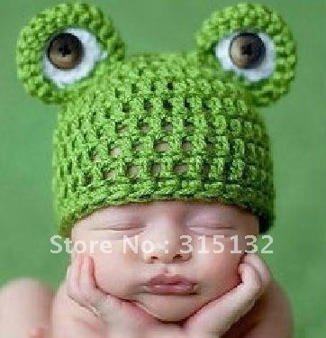 G029 Free shipping Children modelling photography cute little frog hat baby wool knitting hat 3-6months