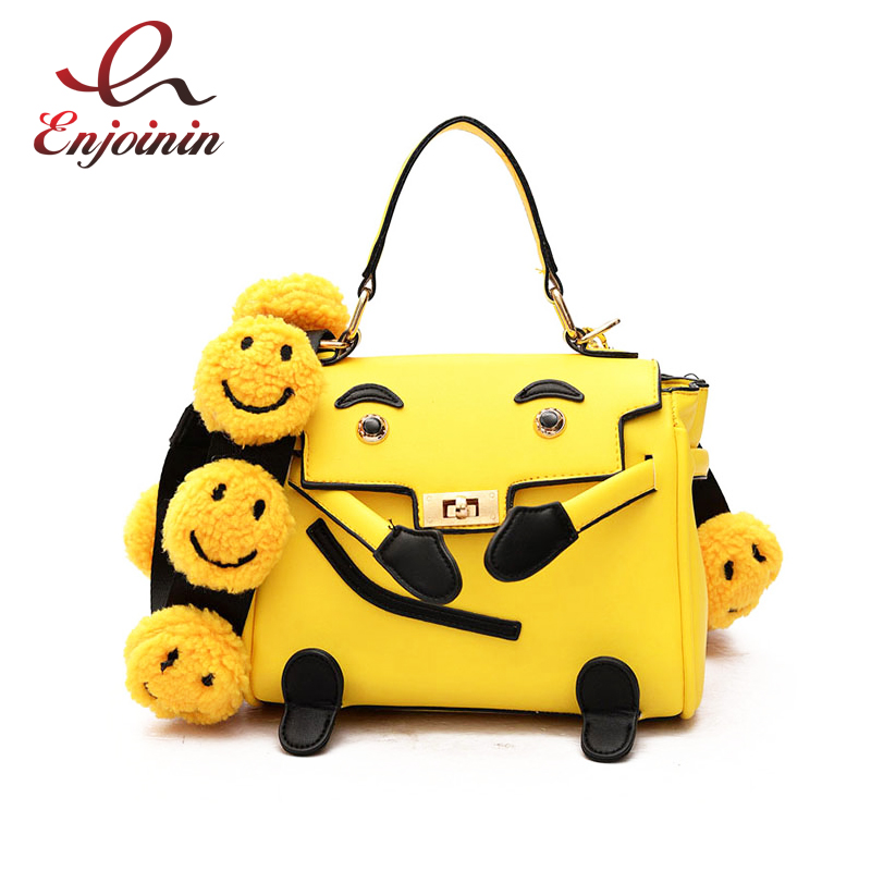 Cute fashion cartoon ladies handbag smiling shoulder strap female totes casual shoulder bag crossbody messenger bag 2 colors  new arrival fashion color rivet metal decoration female totes shoulder bag handbag women s crossbody messenger bag 2 colors
