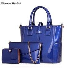 HOT 3 Unids/set Mujeres bolso de Lujo de LA PU bolsa de Cuero mujer Bolsa de hombro + Messenger Bag + Bolso Composite Bolsa el Mejor Regalo para niñas