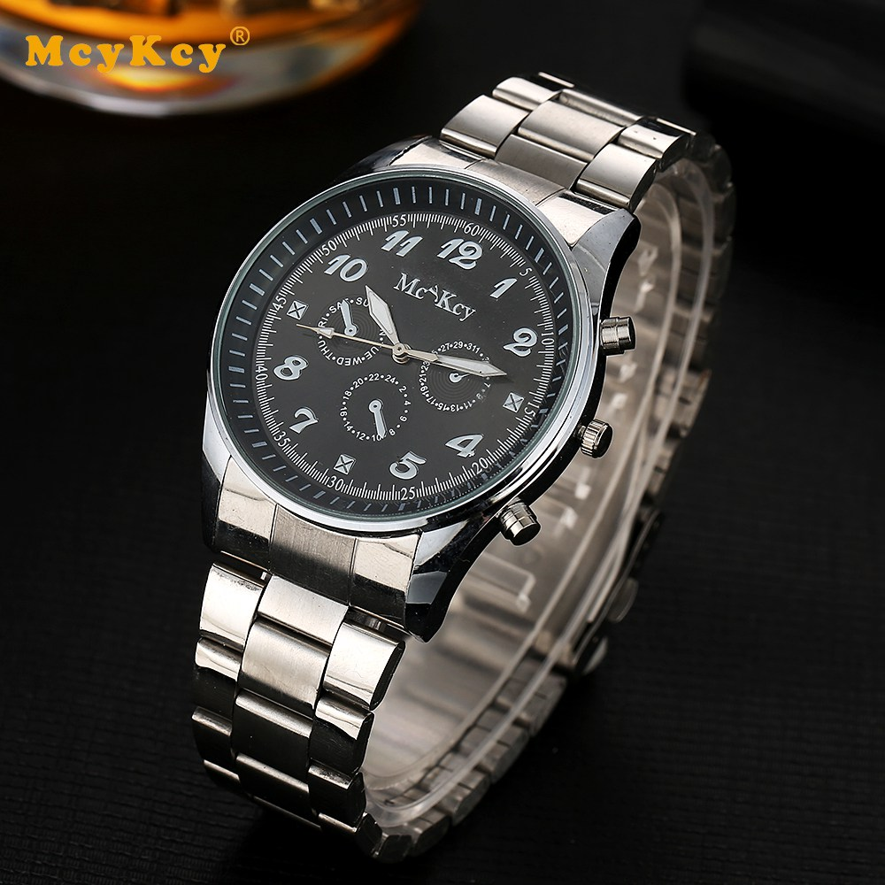 Mcykcy Fashion Business Wristwatch for Men Luxury Analog Clock Casual Quartz Silver Men Watches Sports Watch  Outdoor Gift MY029 new listing men watch luxury brand watches quartz clock fashion leather belts watch cheap sports wristwatch relogio male gift