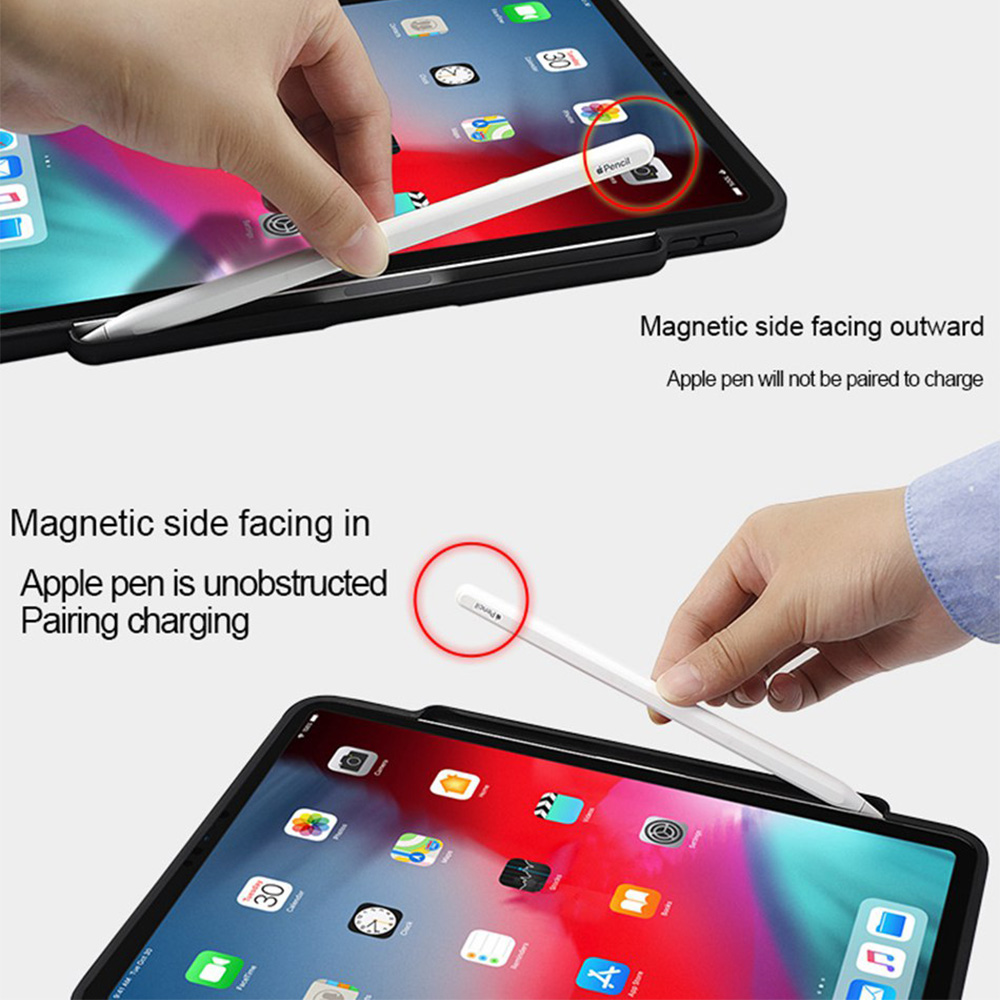 Funda de teclado Bluetooth para iPad Pro 12.9 / 11 2018 Auto Sleep / Wake Smart PU Funda protectora de cuero para Apple iPad 2018 Ligero Ultra delgado Folio Soporte Funda inalámbrica Bluetooth Pen Slot Shell - 3