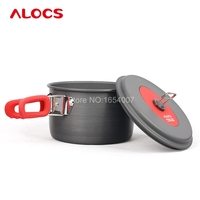 Alocs 2 3 People Outdoor Tableware Aluminum Portable Non Stick Hiking Cooking Camp Cookware Set Pan Pot Kettle Dishcloth CW C19T