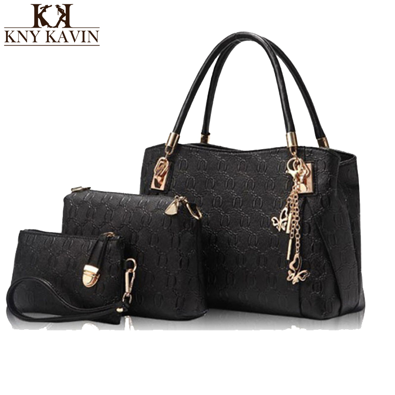 KNY KAVIN Famous Brand Women Bag Top-Handle Bags 2017 Fashion Women Messenger Bags Handbag Set 3 Pcs PU Leather Composite Bag цена и фото