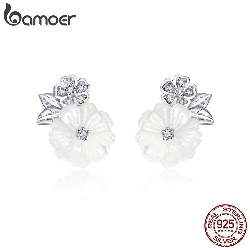 BAMOER genuino 925 plata esterlina Shell flor esmalte blanco Stud pendientes para las mujeres de moda de la joyería de la plata esterlina BSE008