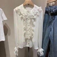 2019 новые модные высококачественные женские Блузка однотонная белые рубашки с широким рукавом с шифоновая рубашка с оборками 0309