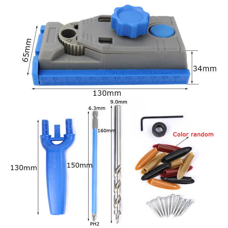 Kit de gabarit en bois et gabarit de trou de poche 6/8/10/12mm Guide de forage avec vis pour perforateur outils de menuiserie menuiserie
