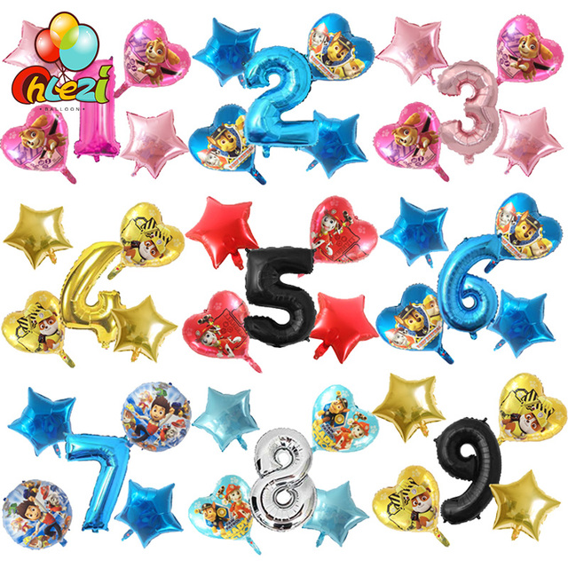 PAW Patrol Skye Rubble chase Cartoon figure balloons Kid' birthday party decor supplies pink blue Number ballons baby shower
