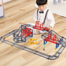 Multilayer Electric Rail Car City Trains Track Straight Curved Rails Building Blocks Set Toys for Kids Educational Bricks