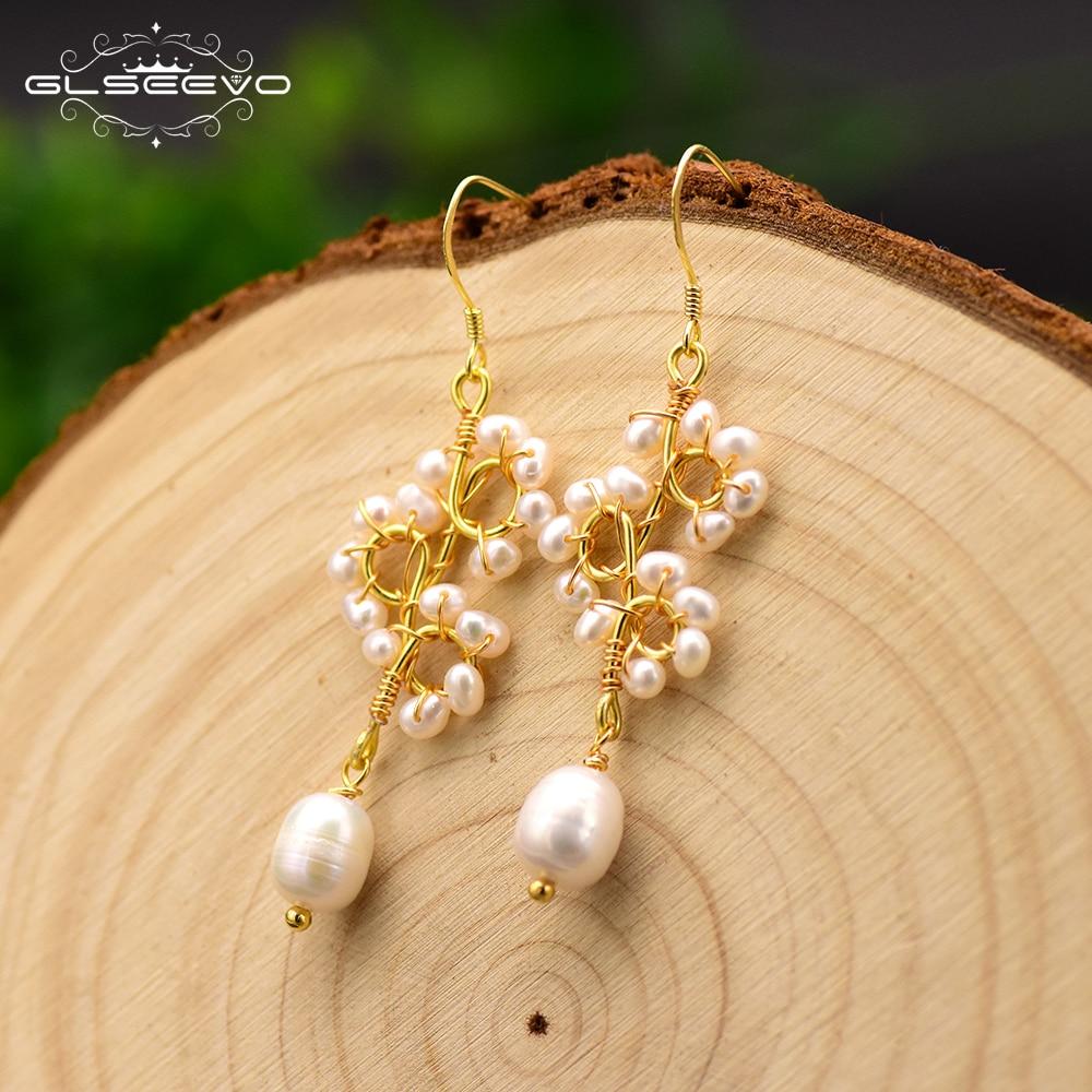 GLSEEVO Handmade Original Design Natural Pearl Dangle Earrings For Women Part Gift Flower Drop Earrings Luxury Jewellery GE0671