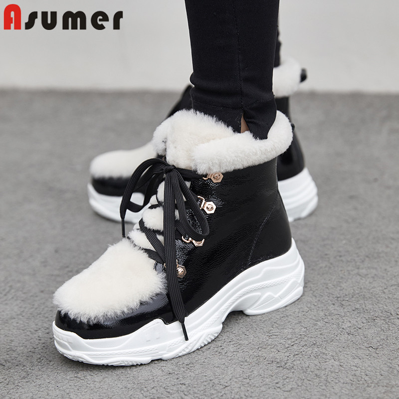 ASUMER 2019 winter snow boots women round toe lace up cow patent leather boots platform ankle boots winter keep warm snow boots platform bowkont flocking snow boots page 6