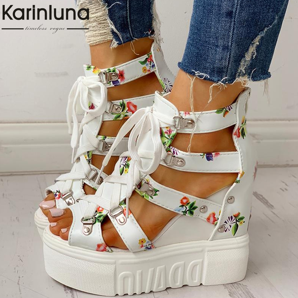 INS Hot Print Leisure Wedges Women's Shoes 2019 Summer Shoes Women Sandals Platform Shoelaces High Heels Casual Shoes Woman(China)