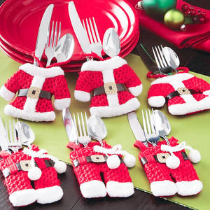 Knife-Decor Pouch Tableware-Holder Pocket-Fork Christmas-Cutlery Kitchen Dinner Snowman