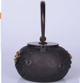 2018 nuevo estilo 1,2l olla de hierro fundido de loto olla de hierro imitación antigua olla de hierro japonés hervidor de hierro de cerdo del Sur tetera hervidor de agua - 4
