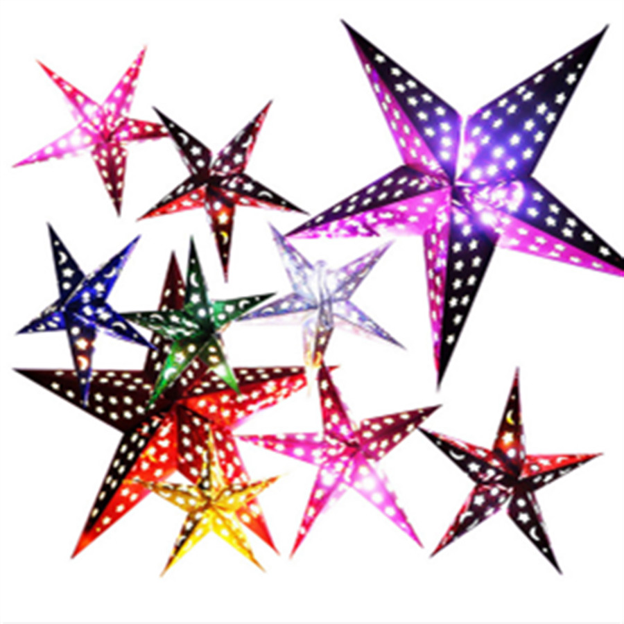 1PC 60cm(24inch) Colorful Creative Paper Shiny Star Lampshade Lanterns Lamps Hanging Wedding Party Winter Holiday Decorations