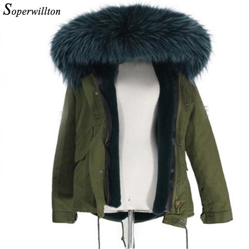 2019 冬リアルファー襟の女性のジャケット暖かい大ラクーンファーフード付きコート女性軍グリーンパーカー女性 # J4  グループ上の レディース衣服 からの パーカー の中 1