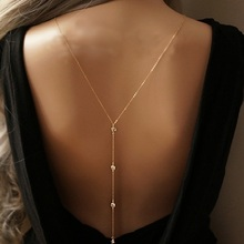 2016 New Women Design Crystal Backdrop Necklace Gold plated Back Body Chain Jewelry Wedding Backless Dress Accessories
