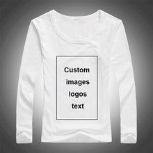 Na zamówienie koszulka z długim rękawem dla kobiet DIY obraz obraz Logo tekst Top Tees rozmiar S-3XL modalne procesu wymiany ciepła