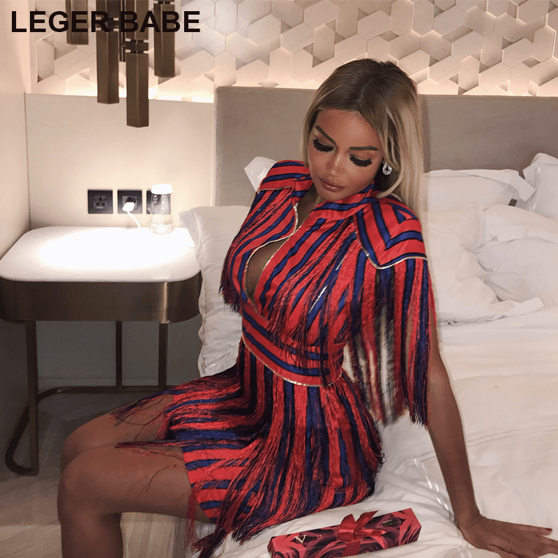 Free Shipping 2018 Women Outfits Cheap Celebrity Fringe Sexy Dress Runway Spanish Red Blue Striped Tassel Mini Party Dresses