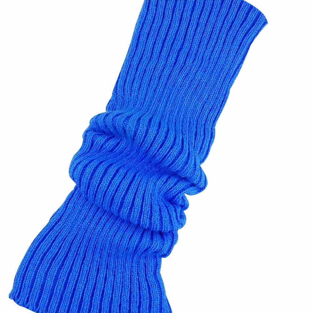 Yüksek çorap kadın saf renk bot paçaları sıcak yün örgü bacak stoklar kış pamuk uzun çorap diz üzerinde kızlar 2019 #38